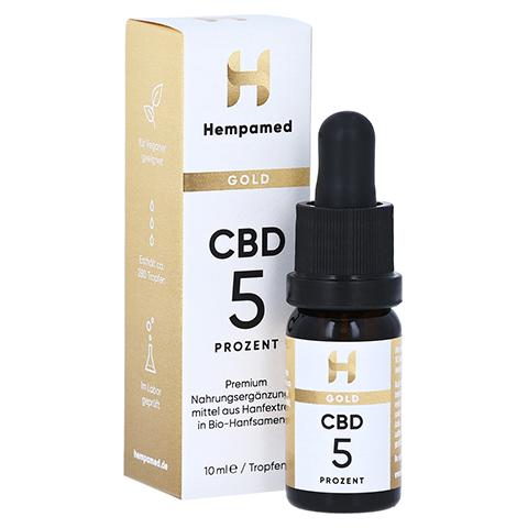 HEMPAMED Gold CBD Öl 5% 500 mg Tropfen z.Einnehmen 10 Milliliter