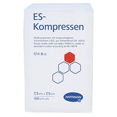 ES-KOMPRESSEN unsteril 7,5x7,5 cm 8fach 100 Stück - Vorderseite