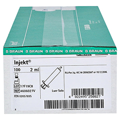 INJEKT Solo Spritze 2 ml Luer zentrisch PVC-fr. 100x2 Milliliter - Linke Seite