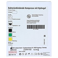 CUTIMED Sorbact Gel Kompressen 7,5x7,5 cm 10 Stück - Rückseite