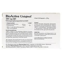 BIOACTIVE Uniqinol 100 mg QH Pharma Nord Kapseln 30 Stück - Rückseite
