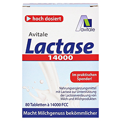 LACTASE 14.000 FCC Tabletten im Spender 80 Stück - Vorderseite