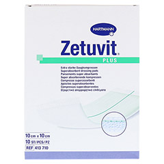 ZETUVIT Plus extrastarke Saugkomp.ster.10x10 cm 10 Stück - Vorderseite