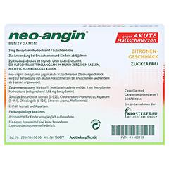 Neo-Angin Benzydamin akute Halsschmerzen Zitrone 20 Stück N1 - Rückseite