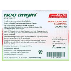 Neo-Angin Benzydamin akute Halsschmerzen Honig-Orange 20 Stück N1 - Rückseite
