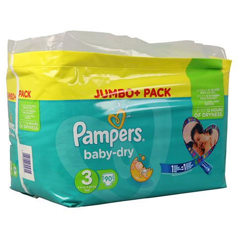 PAMPERS Baby Dry Gr.3 midi 4-9kg Jumbo plus Pack 90 Stück