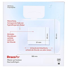 DRACOPOR waterproof Wundverband 8x10 cm steril 5 Stück - Rückseite