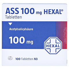 ASS 100mg HEXAL 100 Stück N3 - Vorderseite