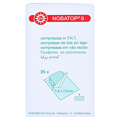 NOBATOP 8 Kompressen 7,5x7,5 cm steril 25x5 Stück - Rückseite