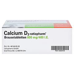 Calcium D3-ratiopharm 600mg/400 I.E. 20 Stück N1 - Unterseite
