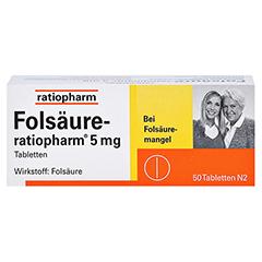 Folsäure-ratiopharm 5mg 50 Stück N2 - Vorderseite