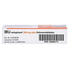 IBU-ratiopharm 200 akut Schmerztabletten 10 Stück N1 - Unterseite