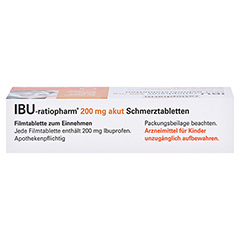 IBU-ratiopharm 200 akut Schmerztabletten 10 Stück N1 - Oberseite