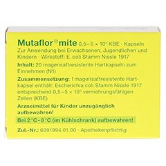 MUTAFLOR mite magensaftresistente Kapseln 20 Stück N1 - Rückseite