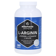 L-ARGININ 750 mg hochd.+Piperin+Vitamine Kapseln 360 Stück