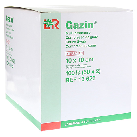 GAZIN Mullkomp.10x10 cm steril 8fach 50x2 Stück
