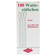 WATTESTÄBCHEN Holz 15 cm m.Wattebausch 100 Stück - Vorderseite