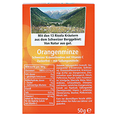 RICOLA o.Z. Box Orangenminze Bonbons 50 Gramm - Rückseite