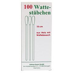 WATTESTÄBCHEN Holz 15 cm m.Wattebausch 100 Stück - Rückseite