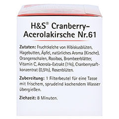 H&S Cranberry Acerolakirsche Filterbeutel 20 Stück - Linke Seite