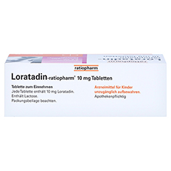Loratadin-ratiopharm 10mg 50 Stück N2 - Oberseite