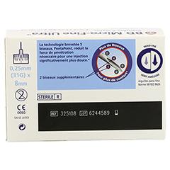 BD MICRO-FINE ULTRA Pen-Nadeln 0,25x8 mm 100 Stück - Rückseite