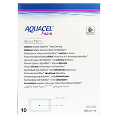 AQUACEL Foam adhäsiv 8x13 cm Verband 10 Stück - Vorderseite