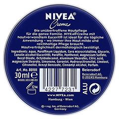 NIVEA PROMO mini Nivea Creme 30 Milliliter - Rückseite