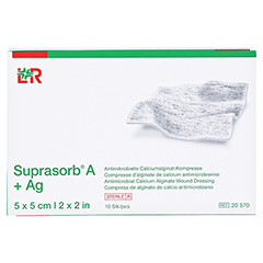 SUPRASORB A+Ag Antimik.Cal.Alginat Kompr.5x5 cm 10 Stück - Vorderseite