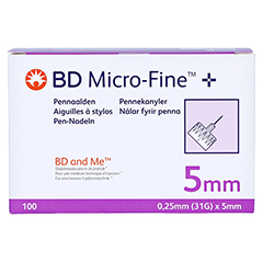 BD MICRO-FINE+ 5 Pen-Nadeln 0,25x5 mm 100 Stück - Vorderseite