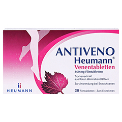 ANTIVENO Heumann Venentabletten + gratis Lippenpflegestift Antiveno 30 Stück - Vorderseite