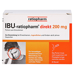 IBU-ratiopharm direkt 200mg 20 Stück - Vorderseite
