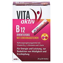 VITA AKTIV B12 Direktsticks mit Eiweißbausteinen 20 Stück - Vorderseite