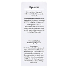 HYALURON SONNENPFLEGE Lippen LSF 50+ 7 Milliliter - Rückseite