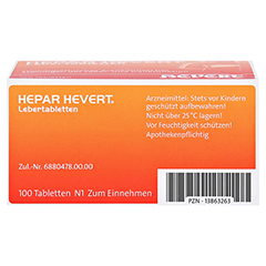 HEPAR HEVERT Lebertabletten 100 Stück N1 - Unterseite