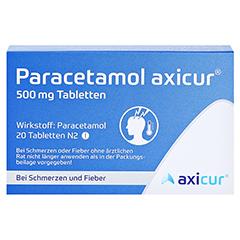 Paracetamol axicur 500mg 20 Stück N2 - Rückseite