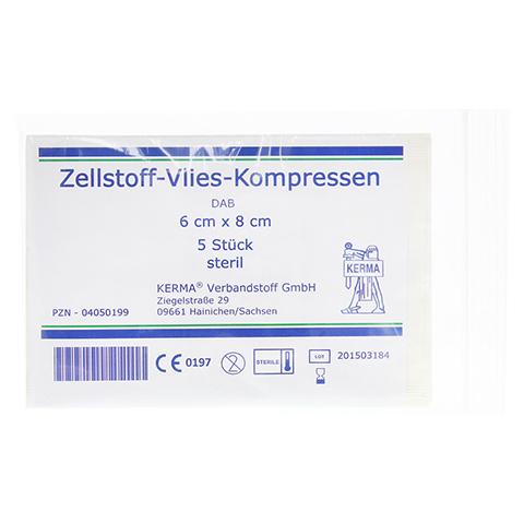 ZELLSTOFF VLIES KOMPRESSEN 6x8 cm steril 5x1 Stück