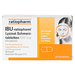 IBU-ratiopharm Lysinat Schmerztabletten 500mg 20 Stück - Vorderseite