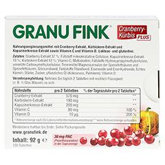 GRANU FINK Cranberry-Kürbis PLUS Tabletten 120 Stück - Rückseite