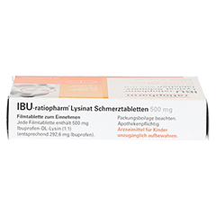 IBU-ratiopharm Lysinat Schmerztabletten 500mg 20 Stück - Oberseite