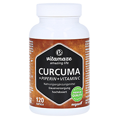 CURCUMA+PIPERIN+Vitamin C vegan Kapseln 120 Stück
