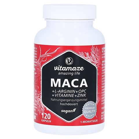 MACA 10:1 hochdosiert+L-Arginin+OPC+Vit.vegan Kps. 120 Stück