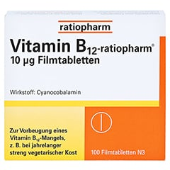 Vitamin B12 ratiopharm 10 µg Filmtabletten 100 Stück N3 - Vorderseite