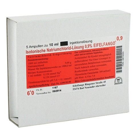 ISOTONISCHE NaCl Lösung 0,9% Eifelfango Inj.-Lsg. 5x10 Milliliter