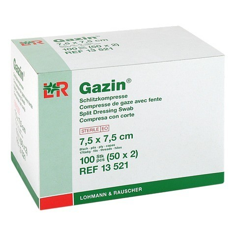 GAZIN Schlitzkompressen 7,5x7,5 cm steril 8fach 50x2 Stück