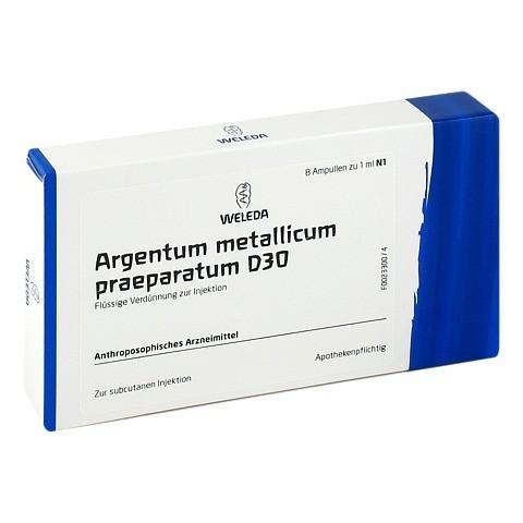 ARGENTUM METALLICUM praeparatum D 30 Ampullen 8 Stück N1