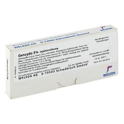 GENCYDO 3% Injektionslösung 8 Stück N1