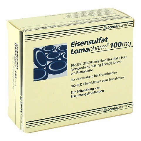 Eisensulfat Lomapharm 100mg 100 Stück N3