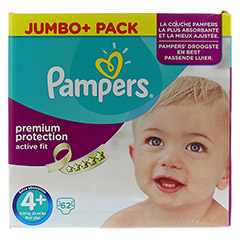 PAMPERS Active Fit Gr.4+ maxi plus 9-20kg Jumbo 62 Stück - Vorderseite