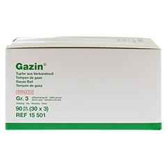 GAZIN Tupfer pflaumengroß steril Gr.3 20fädig 30x3 Stück - Vorderseite